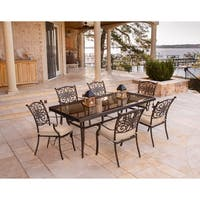 Hanover Traditions 7-Piece Dining Set in Tan with Extra Large Glass-Top Dining Table