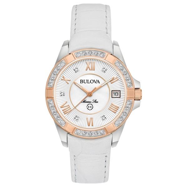 ba8cf102edf7 Shop Bulova Women s Marine Star Diamond Leather Watch - Rosegold ...