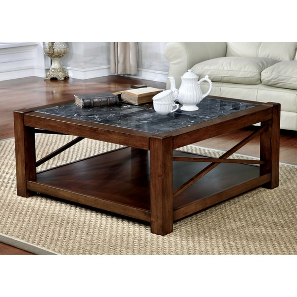 Square Coffee Table Marble Top: Shop Furniture Of America Calrison Transitional Genuine