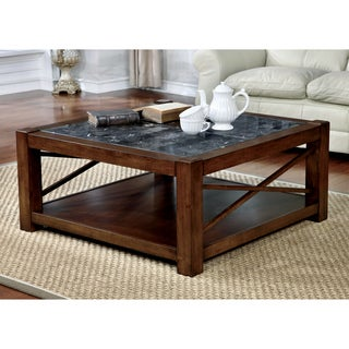 Furniture Of America Calrison Transitional Genuine Marble Top Brown Cherry  Square Coffee Table