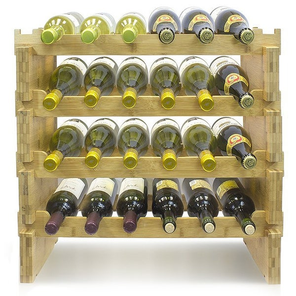 Shop 4 Tier Stackable Bamboo Wine Rack Free Shipping