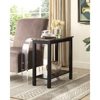 Lediyana Espresso Brown Wooden/Faux Marble Side Table