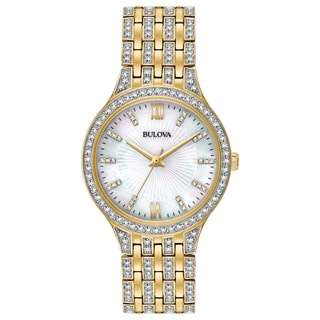 Bulova Women's Swarovski Crystal Goldtone Stainless Steel Watch