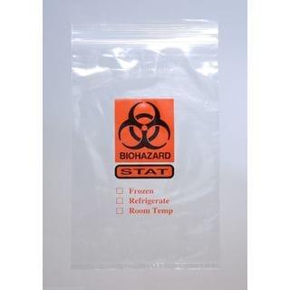 "Zipper 'STAT' Specimen Transfer Bag Clear 2 Mil 6"" x 9"" 3 Wall 1000 Pieces"