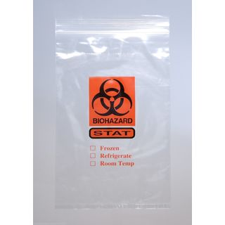 "STAT Printed Tamper Evident Bag Clear 2 Mil 6"" x 10"" 3 Wall 1000 Per Case"