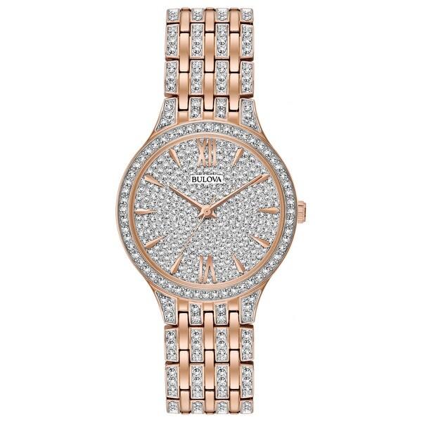 afba93c03 Shop Bulova Ladies' Swarovski Element Crystal Gold Tone Watch - Free  Shipping Today - Overstock - 15951861