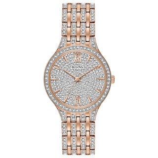 Bulova Ladies' Swarovski Element Crystal Gold Tone Watch 98L235