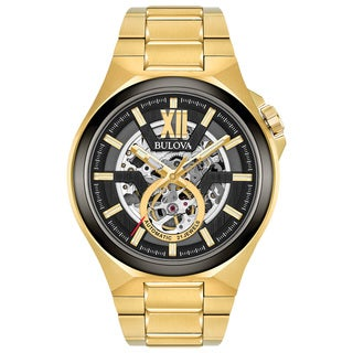 Bulova Men's Automatic Gold Tone Watch 98A178