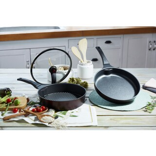 HUHU 3pc Fry Pan and Grill Pan Set