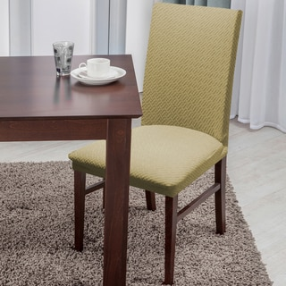 Soft Stretch Form Fitting Basket Weave Texture Dining Chair Cover