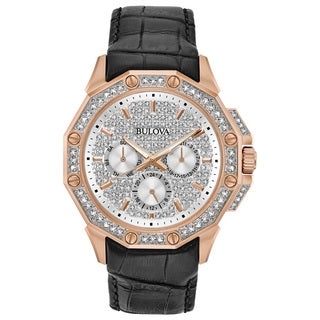 Bulova Men's Swarovski Crystal Diamond Watch 98C125
