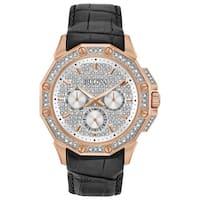 Bulova Men's 98C125 Rosegold Crystal Pave Dial Black Croco Leather Watch