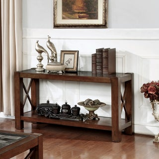 Furniture of America Calrison Transitional Genuine Marble Top Brown Cherry Sofa Table