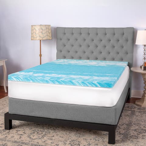 SwissLux 3-inch Swirl Gel Memory Foam Mattress Topper - Blue
