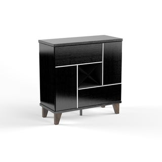 Furniture of America Trinton Modern Multi-storage Black Wine Bar/Cabinet