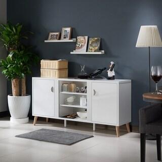 Furniture of America Tempton Contemporary Multi-storage Glossy White Buffet