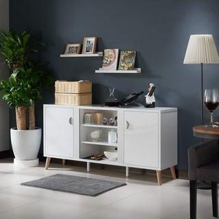 Furniture of America Tempton Contemporary Multi-storage Glossy White Buffet