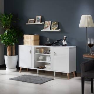 Furniture Of America Tempton Contemporary Multi Storage Glossy White Buffet