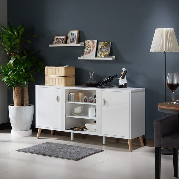 Tempton Mid-century Modern Glossy White Buffet by FOA