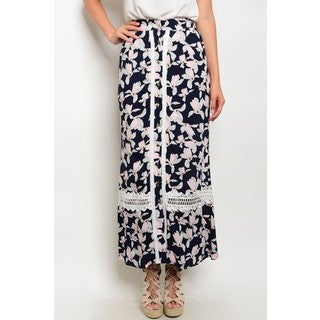 JED Women's Navy and Pink Floral Maxi Skirt