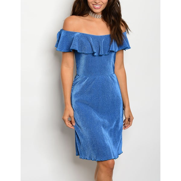JED Women's Off-Shoulder Ruffled Blue Dress
