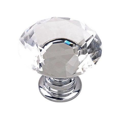 30mm Diamond Shape Crystal Glass Knob Drawer Handle (Box of 10)