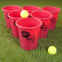 Large Beer Pong Outdoor Game Set with 12 Buckets, 2 Balls, and Tote Bag by Hey! Play!