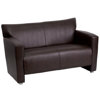 Chantilly Contemporary Brown Leather Loveseat