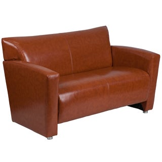 Chantilly Contemporary Cognac Leather Loveseat