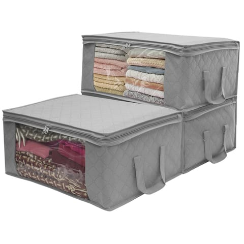 Sorbus® Foldable Storage Bag Organizer Set, Great for Clothes, Blankets, Closets, Bedrooms, and more (3 Pack, Gray)