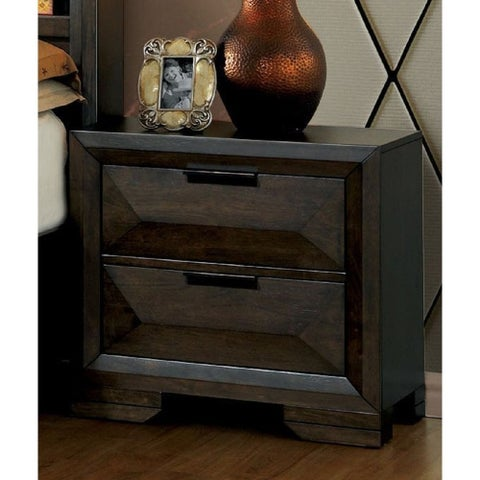Angled Transitional Espresso 2-drawer Nightstand by FOA