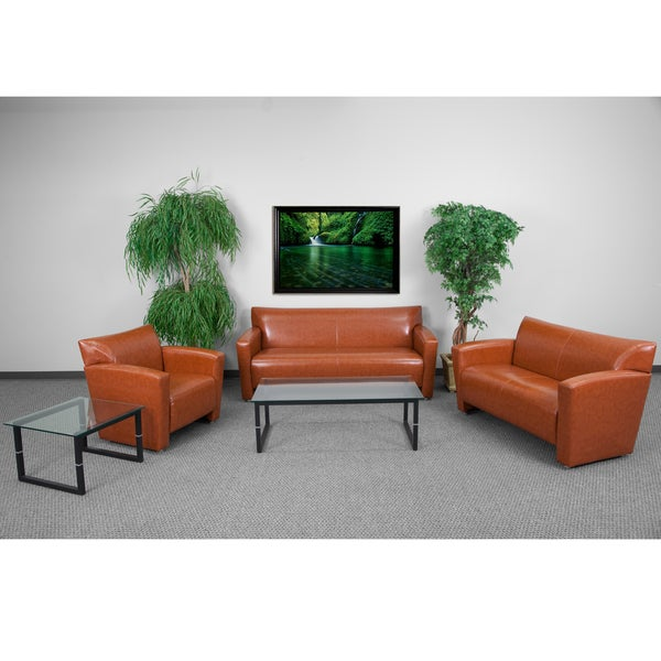 Shop Chantilly Contemporary Cognac Leather 3 Piece Living Room Set Free Shipping Today
