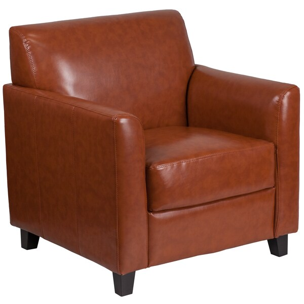 Shop Benville Modern Cognac Leather Guest Chair On Sale
