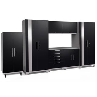 NewAge Products Performance Plus 2.0 8-piece Garage Cabinet Set with Stainless Steel Worktop