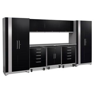 NewAge Products Performance Plus 2.0 9-piece Garage Storage Set with Stainless Steel Worktop