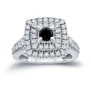 Auriya 14k 1 2/5ct TDW Round Black Diamond Cluster Engagement Ring ( H-I I1-I2)