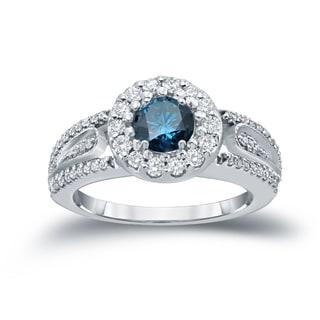 Auriya 14k 1/2ct TDW Round Blue Diamond Cluster Engagement Ring ( H-I I1-I2)
