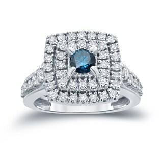 Auriya 14k 1 2/5ct TDW Round Blue Diamond Cluster Engagement Ring ( H-I I1-I2)