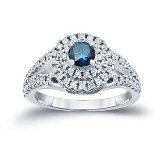 Auriya 14k 1ct TDW Round Blue Diamond Cluster Engagement Ring ( H-I I1-I2)