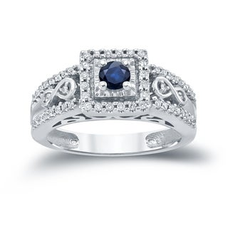 Auriya 14k Gold 1/4ct Blue Sapphire and 1/3ct TDW Diamond Cluster Engagement Ring (H-I, I1-I2)