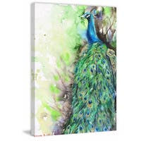 'Golden Peacock' Painting Print on Wrapped Canvas - Green
