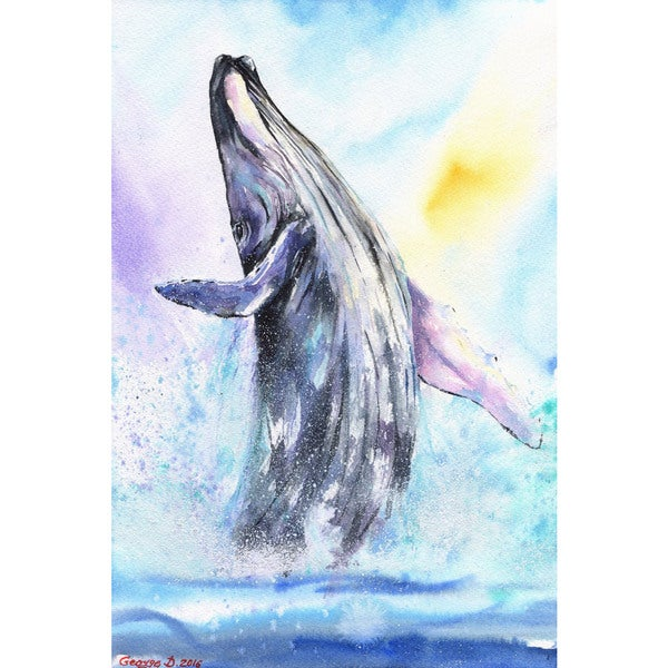 'Ballerina Whale' Painting Print on Wrapped Canvas - Blue