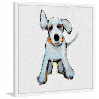 Small White Pup' Framed Painting Print
