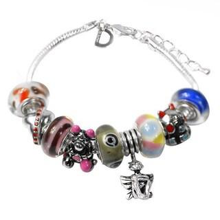 De Buman Multi-color Glass & Enamel Beads Charm Bracelet, 6.7''+1.18''extender