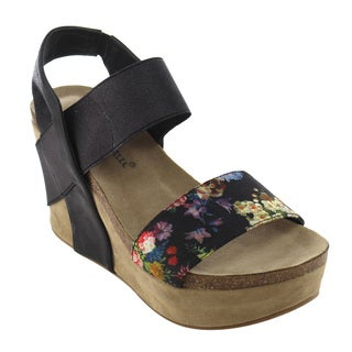 Nature Breeze FJ49 Women's Platform Wedge Heel Studded Floral Pattern Sandals