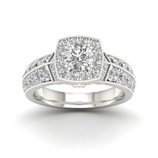 De Couer 2ct TDW Diamond Halo Ring (H-I, I2) - White