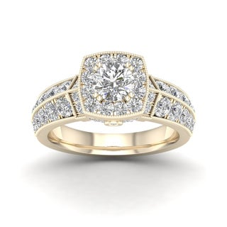 De Couer 2ct TDW Diamond Halo Ring (H-I, I2) - Yellow