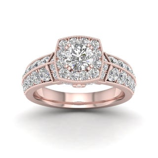 De Couer 2ct TDW Diamond Halo Ring (H-I, I2) - Pink