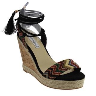 Nature Breeze FJ32 Women's Platform Wedge Heel Bohemian Style Lace Up Sandals