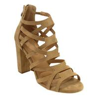 Nature Breeze FJ40 Women's Caged Style Chunky Heel Cut Out Sandals